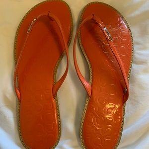 Orange Coach Flip Flop Sandals
